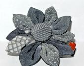 Blue patchwork pattern kimono fabric kanzashi hair flower clip