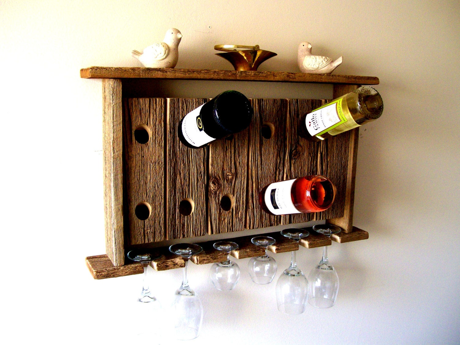 Reclaimed Wood Wine Rack Wine Glass Holder Wall Shelf Riddling