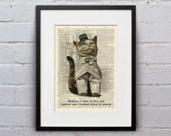 Your Facebook Status Needs Work - Victorian Cat Dictionary Page Book Art Print - DPLJ008