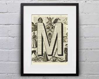 The Letter M Vintage French Alphabet - Shabby Chic Dictionary Page Book Art Print - DPFA013