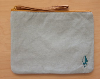 Natural Canvas Pouch Clutch/ Pencil Pouch Clutch/ Cosmetic Bag, Light Blue and Ivory