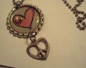 "HALF OFF SALE   Necklace Silver Tone Flattened Bottle Cap Pendant  Heart Peace Sign 20"" Ball Chain"