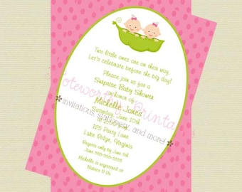 Two Peas in a Pod Twin Girls Baby Shower Invitation/Twin Girls Baby Shower Invite/Peas in a Pod/DIY Printable File