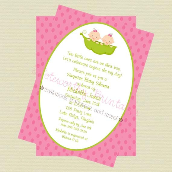 two peas in a pod twin girls baby shower invitation twin girls baby