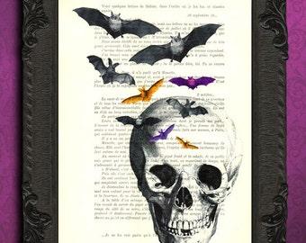 Skull print, skull with bats dictionary art print, skull decorations, art, mixed media, altered