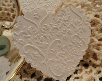 Victorian White Lace Valentine Heart Die cuts Set of 10