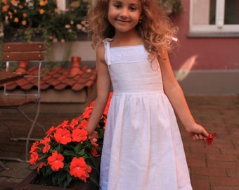 Girls summer dress D29 flower girl linen white lace birthday special occasion /rusteam