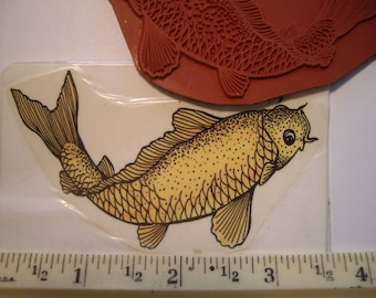 KOI fish, gold fish rubber stamp  un-mounted scrapbooking rubber stamping right facing