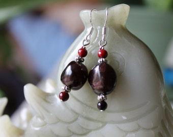 Red Garnet Earrings, sterling silver hook