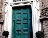 Italy Travel Photography,Rome, Teal door, Digital print
