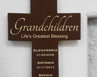 Grandchildren Cross Lifes Greatest Blessings Personalized Names Birth Dates Large 11x16