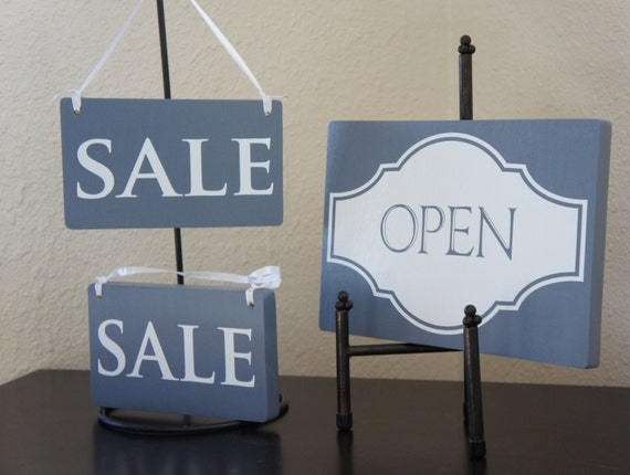 Retail Set - Open Closed Double side sign with 2 Sale signs Solid Wood Business Store Shop business Store boutique Retail shop