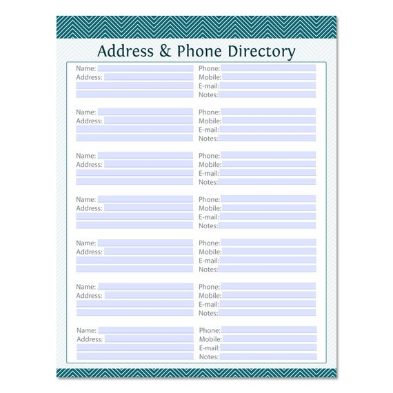 address  u0026 phone directory fillable printable pdf by