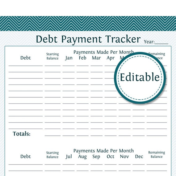 Debt Payment Tracker Fillable Instant Download Finance