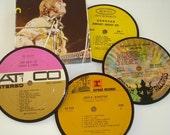60's FOLK ROCK Coaster Set - Donovan Sonny & Cher vinyl record coasters Sebastian