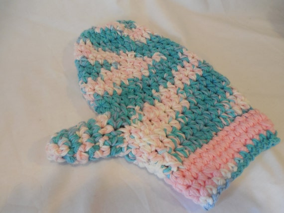 Sale Crochet Oven Mitts Varigated With Pink Oven Gloves