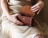 Brown leather bag, small  purse, leather handbag, Dalfia - Dalfia