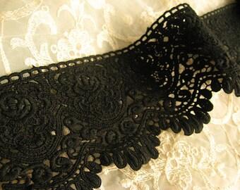 Black Cotton Lace Trim Antique Crochet Lace Trim Retro Embroidery Florals Venice  Lace Fabric