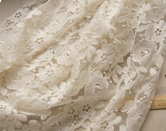 Ivory Embroidered Lace Fabric by the Yard, on sale