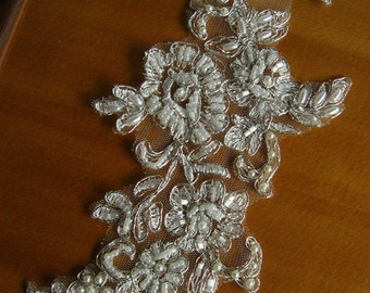 Beaded Bridal Applique, silver alencon lace applique