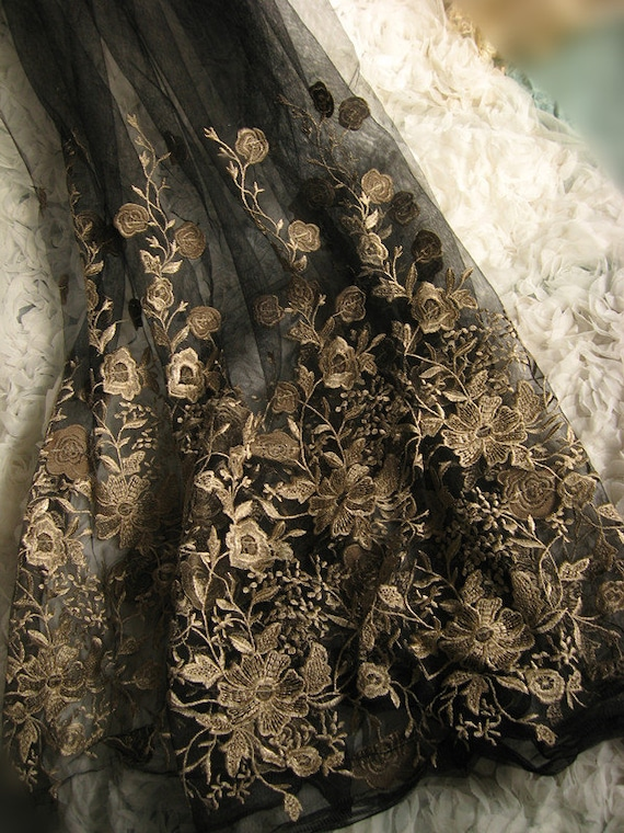 Black Embroidered Lace Gauze Fabric Retro Gold Florals Baroque