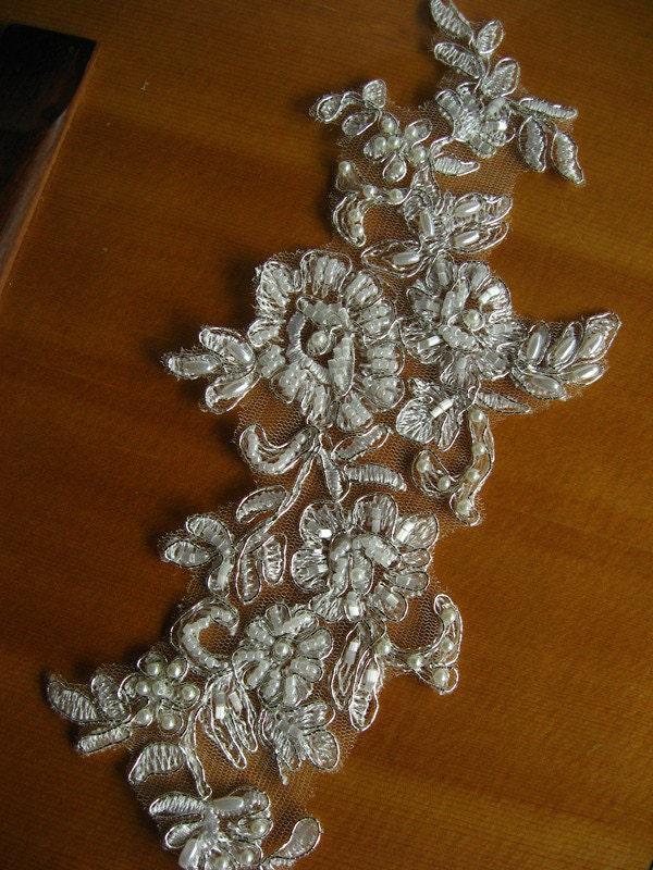 Beaded bridal applique bridal headpiece applique silver for Wedding dress with applique