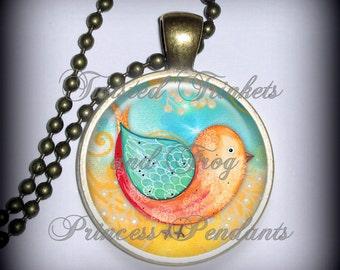 Sweet Birdie Pendant Charm, Necklace Pendant, Resin Pendant, Art Pendant (p150)