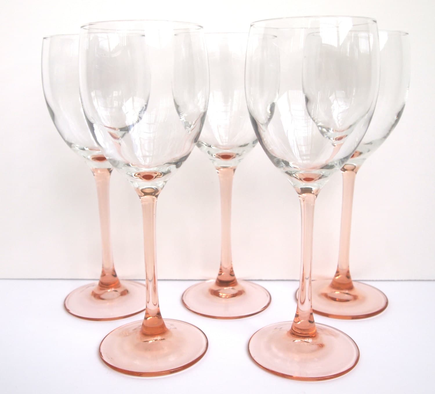vintage luminarc rose wine glasses peach pink set of by. Black Bedroom Furniture Sets. Home Design Ideas