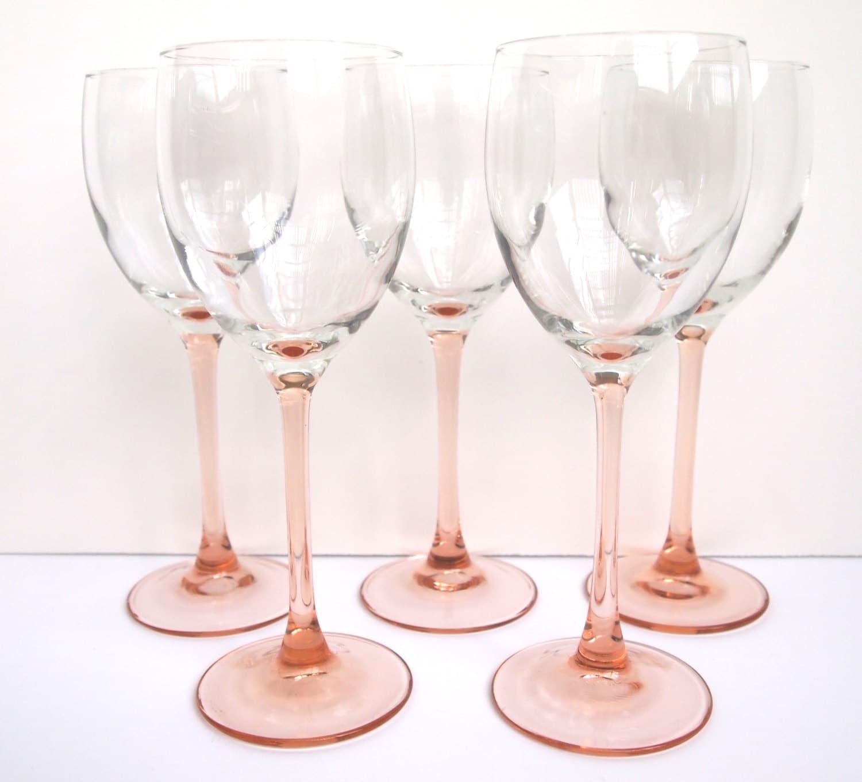 Vintage luminarc rose wine glasses peach pink set of five - Square bottom wine glasses ...