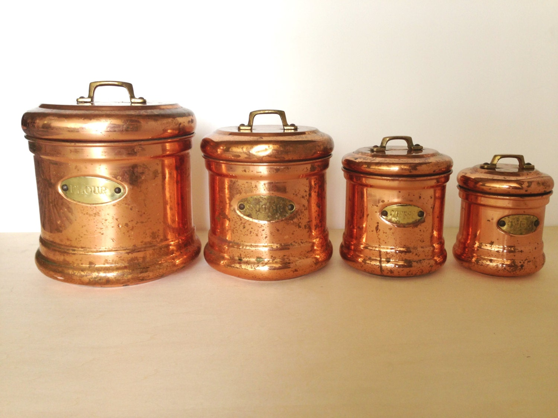 industrial vintage retro copper flour sugar coffee tea. Black Bedroom Furniture Sets. Home Design Ideas
