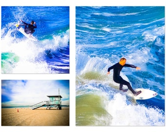"""Surf Photography, Beach Photography, Set of 3 8x10 Prints, California Photography, Ocean Photography, Blue, Surfer, """"SoCal Surf"""""""