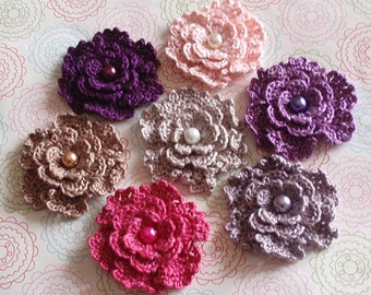 7 Crochet Flowers With Pearls  YH-151-02