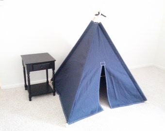BIG Navy Canvas Teepee  Kids Play Tent Tipi Wigwam or Kids Fort Blue Kids Teepee