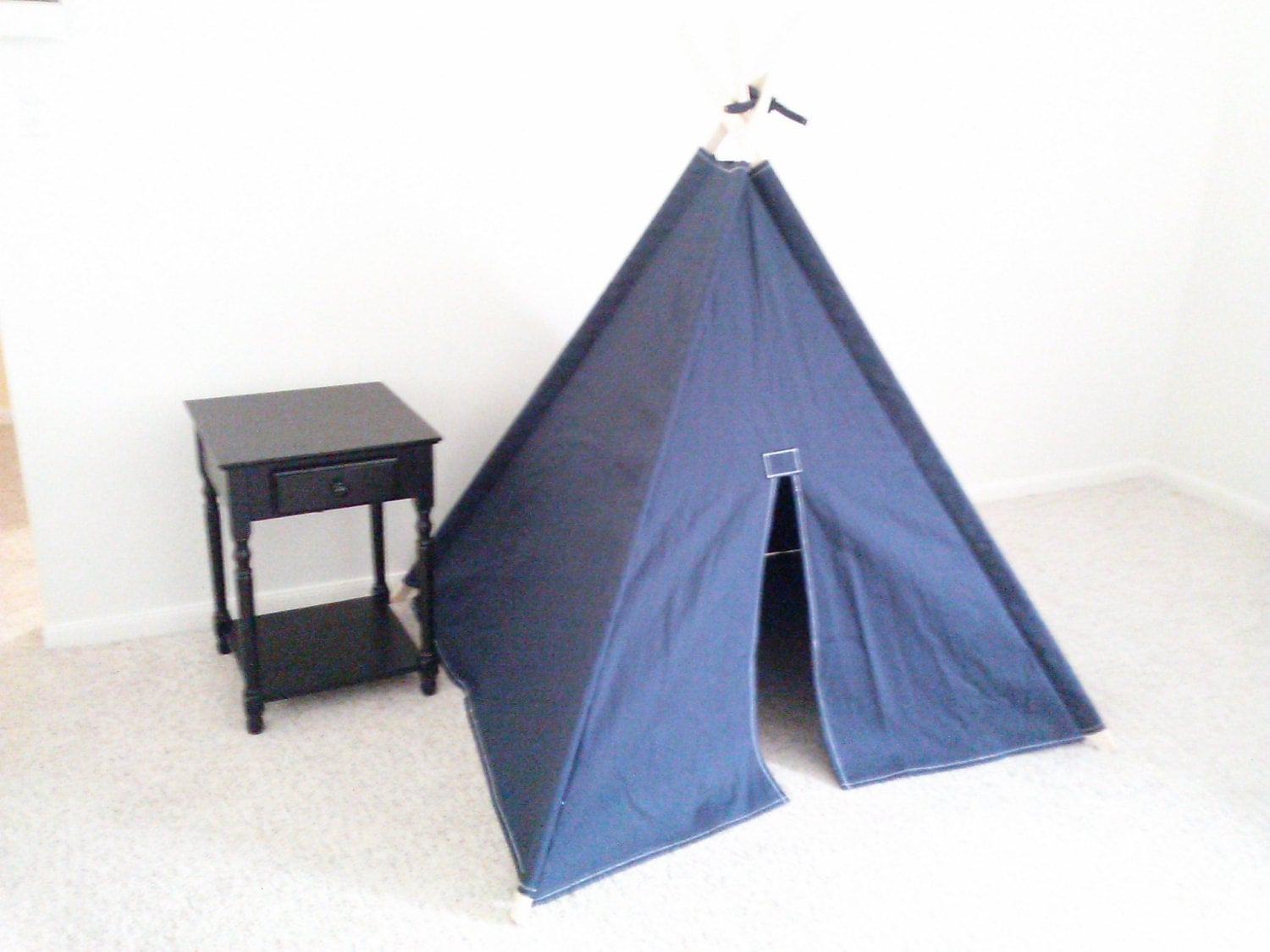 Big Navy Canvas Teepee Kids Play Tent Tipi Wigwam Or Kids