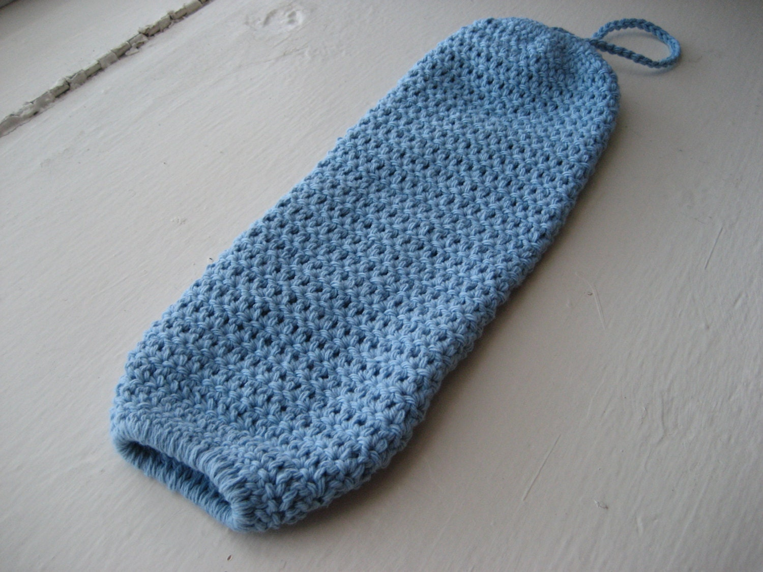 Crochet Bag Pattern Design : Crocheted Hanging Grocery Bag Holder Light Blue