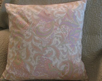 Pastel Paisley Print Pillow Cover Pieced in a Harlequin Pattern-Cream