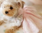 Beautiful soft Pink lace dress for small dog, cute wedding dress for dog - YOYOPETFASHION