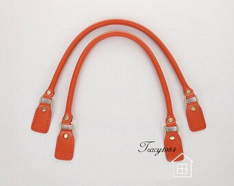 1 Pair 23 inch Synthetic Leather Bag Handle (Orange) F010