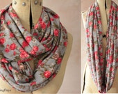 Infinity scarf - Eternity scarf, Circle scarf, Jersey scarf, Tube scarf, Loop scarf, Snood - Grey Rose scarf