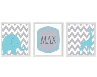 Elephant Giraffe Chevron Nursery Wall Art Print - Aqua Gray - Name Personalize Children Baby Room - Wall Art Home Decor  -  Prints