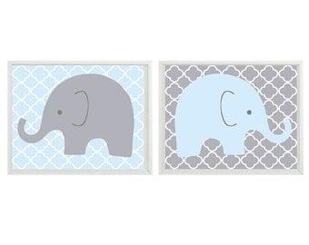 Elephant Nursery Wall Art - Light Blue Gray Decor  - Children Kid Boy Baby Room - Home Decor