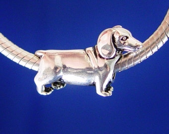 Dachshund Puppy Weiner Wiener Hot Dog Doxie European Charm Bead Silver Plated designed to fit your Bracelet or style