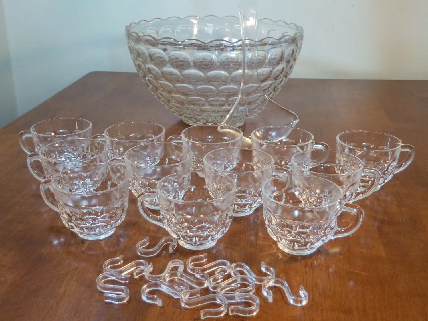Federal Glass Punch Bowl 12 Cups Thumbprint By Uniquefinds4you