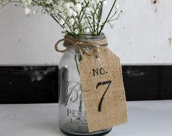 rustic burlap table number