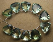 1 Match Pair, Super Rare AAA Natural GREEN AMETHYST Faceted Trillion Shape Briolettes Calibrated Size 12mm