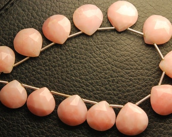 8 Inch Strand,12 Beads,Superb-Finest Quality PERUVIAN PINK OPAL Faceted Heart Shape Briolettes,11-12mm