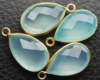 925 Sterling Vermeil Silver Aqua Chalcedony Faceted Pear Shape Pendant,4 Piece of 20mm