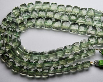 9 Inch Strand,Green Amethyst Faceted 3D BOx Shape Briolettes,6-7mm Long,Great Quality