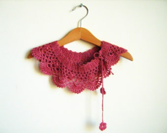 Collar Necklace, Handmade crochet Peter Pan Collar Necklace, old rose angora collar,  ready to shipping, for her.