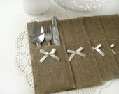 Set of 150-Burlap Silverware Holders with ivory bow - Rustic table decor